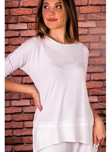 Stamina  Bayan Açık Bisiket Yaka Yarım Kollu Bluz-5VS15 Beyaz
